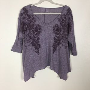 We The Free | Free People Purple Floral Top